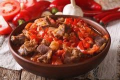 阿拉伯烹调:与菜的羊羔炖煮的食物在碗关闭  Ho 免版税库存照片