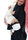 阿拉伯父亲穆斯林儿子 免版税库存照片