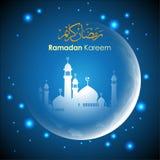 阿拉伯看板卡问候问候圣洁伊斯兰kareem月ramadan脚本 皇族释放例证