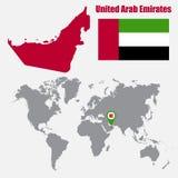 阿拉伯联合酋长国在与旗子的一张世界地图映射并且映射尖 也corel凹道例证向量 皇族释放例证