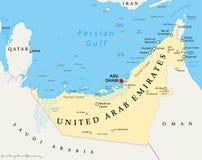 阿拉伯联合酋长国阿联酋政治地图 免版税库存图片