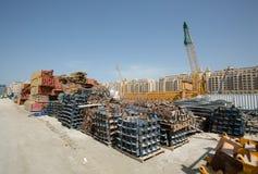 阿拉伯联合酋长国,迪拜, 06/07/2015,总督旅馆发展棕榈的建筑工地,迪拜 库存照片