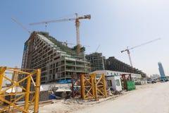 阿拉伯联合酋长国,迪拜, 06/07/2015,总督旅馆发展棕榈的建筑工地,迪拜 免版税图库摄影