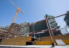 阿拉伯联合酋长国,迪拜, 06/07/2015,总督旅馆发展棕榈的建筑工地,迪拜 免版税库存图片