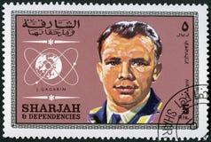 阿拉伯联合酋长国- 1961年:展示尤里・加加林1934-1968,飞行员,空间的第1个人 免版税库存照片