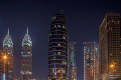阿拉伯联合酋长国/迪拜- 9/26/2012 -迪拜大厦在晚上 图库摄影