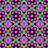 阿拉伯背景 伊斯兰教的几何被设置的传染媒介无缝的样式 在东部样式的典雅的纹理 明亮的颜色 开花wallpa 皇族释放例证