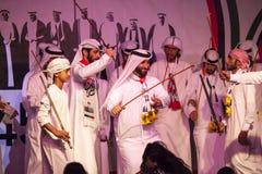 阿拉伯舞蹈家在Ras Al Khaimah,阿拉伯联合酋长国 免版税库存图片