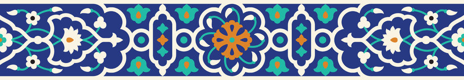 阿拉伯花卉无缝的边界 传统伊斯兰教的设计 库存例证