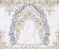 阿拉伯花卉曲拱 在白色大理石背景的传统伊斯兰教的装饰品 清真寺装饰设计元素 皇族释放例证