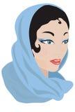 阿拉伯蓝色围巾妇女 向量例证
