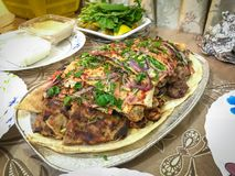 阿拉伯食物混杂的烤肉 库存图片