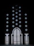 阿拉伯建筑学透雕细工玻璃门 库存照片