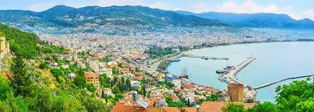 阿拉尼亚全景从城堡小山的 免版税库存图片