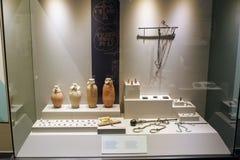 从阿拉尼亚考古学博物馆收藏土耳其的各种各样的古董展览 库存图片