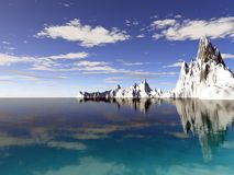阿拉斯加冰川反映水 免版税库存照片