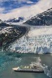 阿拉斯加冰河海湾空中照片  库存照片