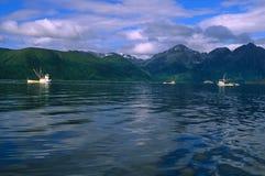 阿拉斯加小船商业捕鱼业 免版税图库摄影
