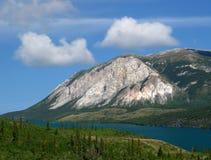 阿拉斯加山路skagway对白色 免版税库存照片