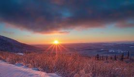 阿拉斯加的冬天天空 免版税库存照片
