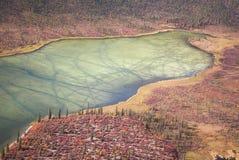 阿拉斯加的冻结的湖 库存照片