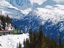 阿拉斯加的火车乘驾通过山 免版税库存照片