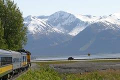 阿拉斯加的铁路行程 免版税库存照片
