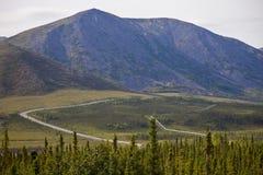 阿拉斯加的pipelineand拖拉路 免版税库存图片