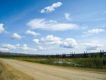 阿拉斯加管道和多尔顿高速公路 免版税库存图片