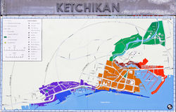 阿拉斯加街市Ketchikan街道地图 免版税库存照片