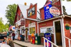 阿拉斯加街市Talkeetna商店、客栈和出租飞机 免版税库存照片