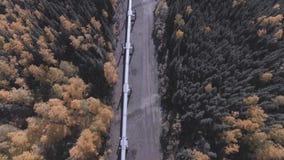 阿拉斯加输油管,多尔顿高速公路的空中英尺长度在秋季的 股票录像
