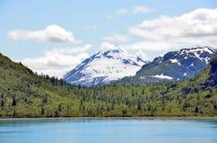 阿拉斯加风景湖、山和森林 图库摄影