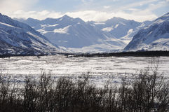 阿拉斯加黑色冰川范围急流 免版税库存图片