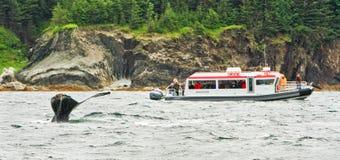 阿拉斯加-小船,鲸鱼尾标 图库摄影
