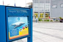 阿拉斯加- Seward阿拉斯加海洋生活中心符号 免版税库存图片