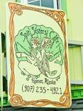 阿拉斯加- Sipt姐妹咖啡馆在荷马 库存图片