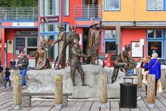 阿拉斯加Ketchikan江边历史的公开艺术 免版税库存照片