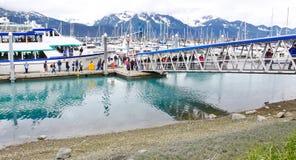 阿拉斯加Seward Kenai海湾浏览通道 库存图片