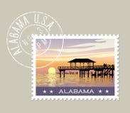 阿拉巴马与渔码头的墨西哥湾海岸 向量例证