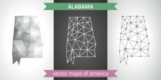 阿拉巴马套灰色和银马赛克3d多角形地图 向量例证