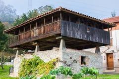 阿斯图里亚斯粮仓horreo在庭院里在加耶戈斯角,阿斯图里亚斯,西班牙 库存照片
