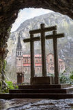 阿斯图里亚斯covadonga圣所西班牙 免版税库存图片