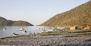 阿斯图里亚斯cudillero捕鱼西班牙村庄 免版税库存图片