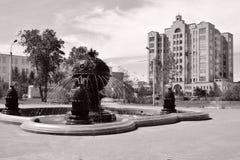 阿斯塔纳首都喷泉卡扎克斯坦 免版税库存照片