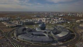 阿斯塔纳,哈萨克斯坦- 2018年9月19日:大厦现代复合体从概略的看法的 股票视频