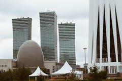阿斯塔纳,哈萨克斯坦- 2017年9月13日:现代大厦-分 库存照片