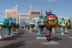 阿斯塔纳,哈萨克斯坦- 2017年9月13日:的艺术设施 免版税库存图片