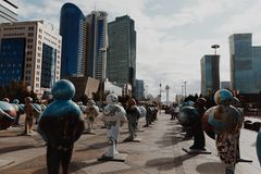 阿斯塔纳,哈萨克斯坦- 2017年9月13日:的艺术设施 免版税图库摄影
