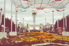 阿斯塔纳,哈萨克斯坦- 2017年9月13日:Bayterek塔是 库存图片